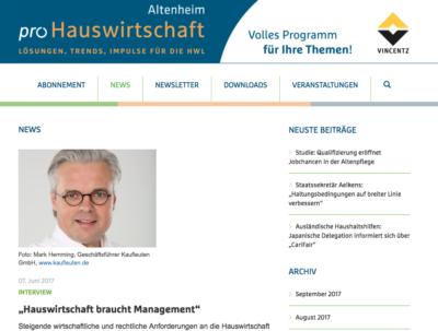 Interview: Hauswirtschaft braucht Management